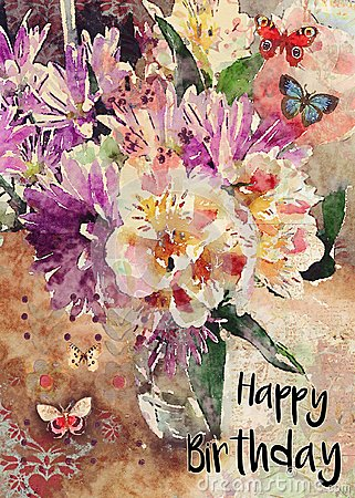 Watercolor Floral Bouquet Happy Birthday Greeting Card Stock Image