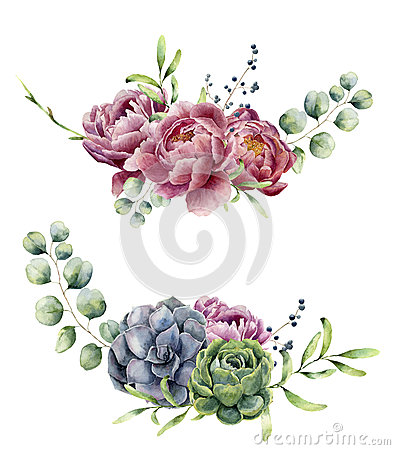 Free Watercolor Floral Composition Isolated On White Background. Vintage Style Posy Set With Eucalyptus Branches, Succulents Royalty Free Stock Image - 85044286