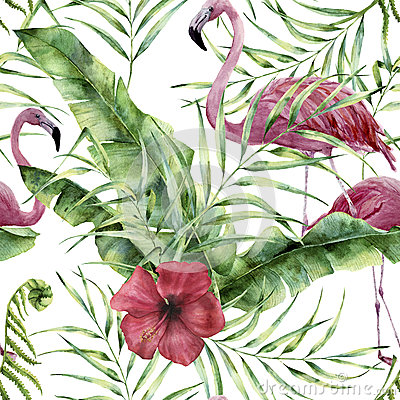 Free Watercolor Floral Pattern With Exotic Flowers, Leaves And Flamingo. Hand Painted Ornament  With Tropical Plant: Hibiscu Royalty Free Stock Photos - 92551648