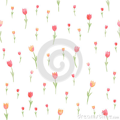 Free Watercolor Floral Seamless Pattern. Tulips. Vector Illustration. Beautiful Background. Royalty Free Stock Photography - 42364257