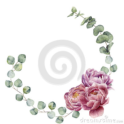 Free Watercolor Floral Wreath With Eucalyptus Leaves And Peony Flowers. Hand Painted Floral Border With Branches, Leaves Of Eucalyptus Royalty Free Stock Images - 75312789