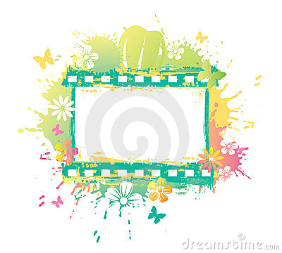 Free Watercolor Flower Film Strip Royalty Free Stock Photography - 9139377