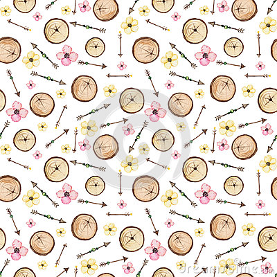 Watercolor Flowers, Arrows And Woods Seamless Pattern Stock Photo