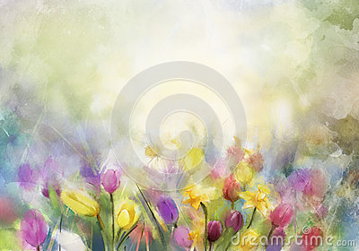 Watercolor flowers painting Stock Photo