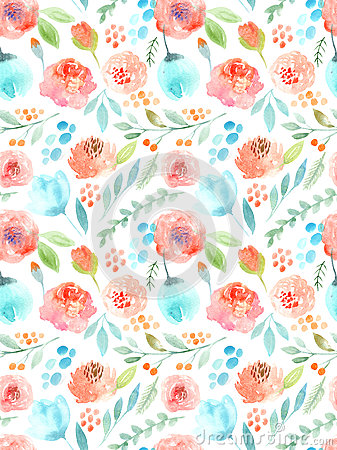 Free Watercolor Flowers. Seamless Pattern. Cute Roses Stock Image - 60714201