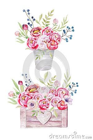 Watercolor Flowers Wooden Box Hand Drawn Chic Vintage Garden Ru Cartoon Illustration