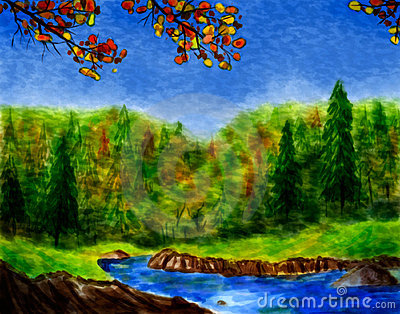 Watercolor Forest In Autumn