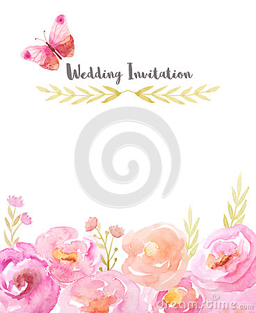 Watercolor frame with pink flowers and leaves Stock Photo