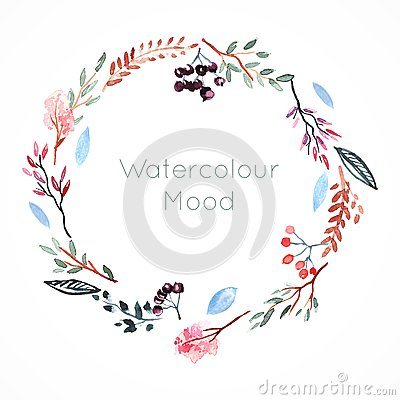 Free Watercolor Frame With Berries And Flowers Stock Photos - 40362813