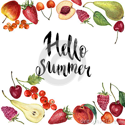 Watercolor fruit frame card. Hand painted border with fruit, berries and lettering Hello summer isolated on white Stock Photo