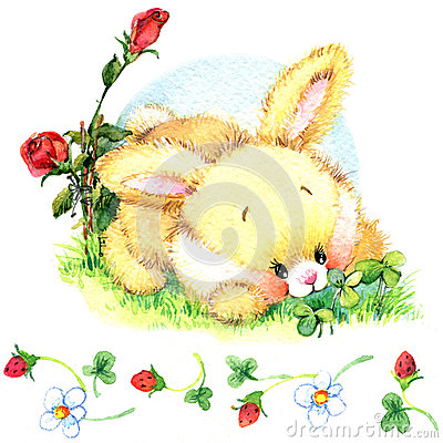 Free Watercolor Funny Bunny. Toy Bunny.  Background For Kid. Royalty Free Stock Photography - 62294837