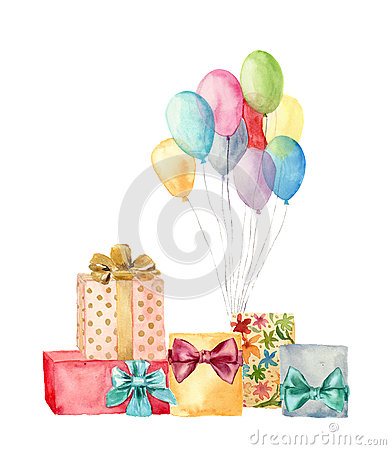 Free Watercolor Gift Boxes With Bow And Air Balloons. Hand Painted Illustration Of Blue, Pink, Yellow, Purple Balloons And Birthday Gif Royalty Free Stock Photography - 77630117