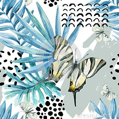 Free Watercolor Graphical Illustration: Exotic Butterfly, Tropical Leaves, Doodle Elements On Grunge Background. Royalty Free Stock Images - 98005819