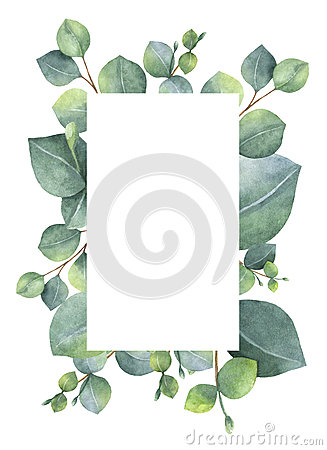 Free Watercolor Green Floral Card With Silver Dollar Eucalyptus Leaves And Branches Isolated On White Background. Royalty Free Stock Photography - 86565807