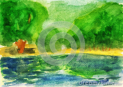 Watercolor. Green forest and lake