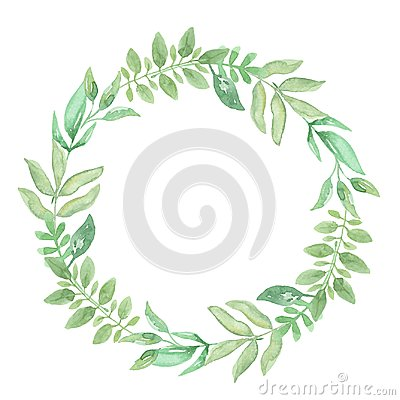 Free Watercolor Green Wreath Frame Leaves Wedding Spring Summer Garland Olive Royalty Free Stock Photos - 107488358