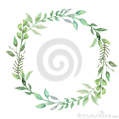 Free Watercolor Greenery Leaf Wreath Garland Spring Summer Wedding Leaves Stock Photography - 98621842