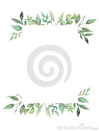 Free Watercolor Greenery Leaves Hand Painted Frame Wedding Foliage Wreath Stock Photos - 98575133