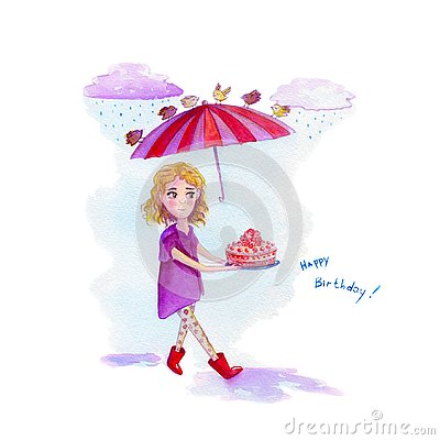 Watercolor greeting card with a girl in purple cape carrying a cake over which birds keep an umbrella on a rainy day text happy bi Stock Photo