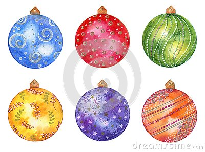 Watercolor hand drawn Christmas set with colored balls isolated on white background. Stock Photo