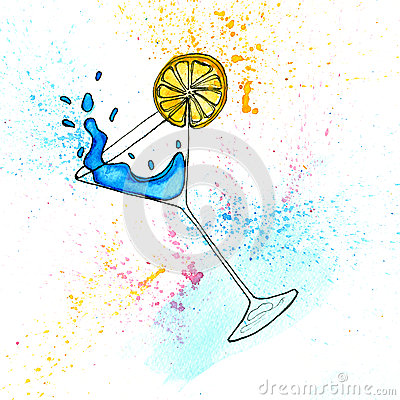 Free Watercolor Hand Drawn Illustration Of Blue Cocktail In Martini Glass. Royalty Free Stock Image - 73875646