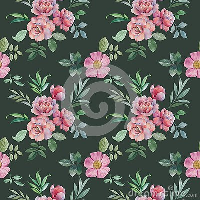 Seamless watercolor pattern of flowers and leaves. Flower arrangement for design. Stock Photo