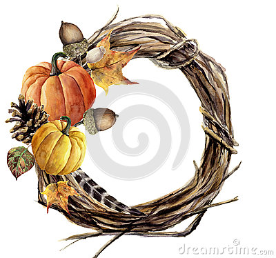 Free Watercolor Hand Painted Autumn Wreath Of Twig. Wood Wreath With Pumpkin, Pine Cone, Fall Leaves, Feather And Acorn Royalty Free Stock Image - 79131386