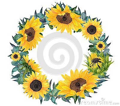 Free Watercolor Hand Painted Sunflower Wreath Stock Images - 116633604