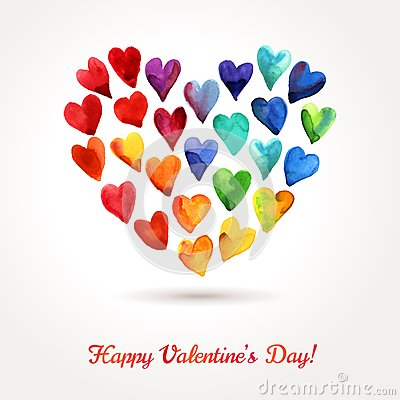 Free Watercolor Happy Valentines Day Hearts Cloud. Royalty Free Stock Photography - 48936187