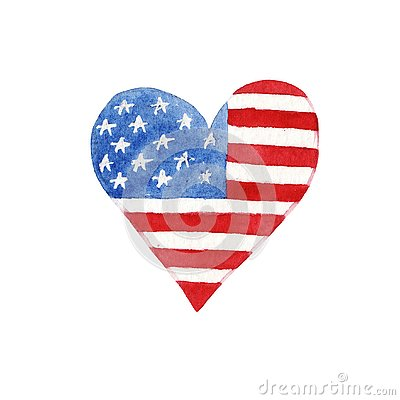 Watercolor heart with american flag Stock Photo