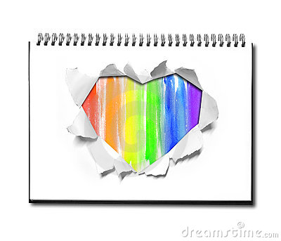 Watercolor Heart shape paper on book