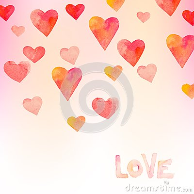 Free Watercolor Hearts Background Stock Images - 36905194
