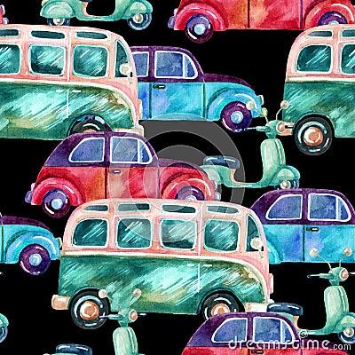 Watercolor hippie camper van, car and scooter Cartoon Illustration
