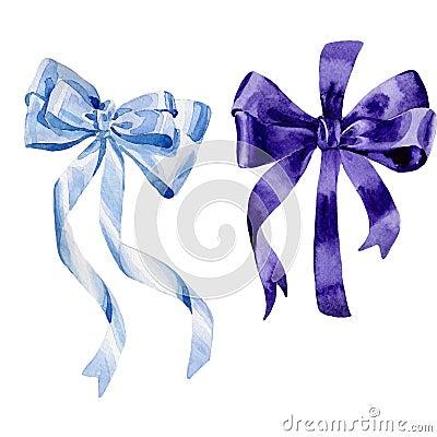 Free Watercolor Holiday Colorful Ribbon Bow Greeting Illustration. Stock Photo - 99239120