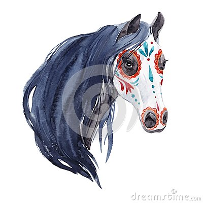 Free Watercolor Horse Vector Portrait Stock Photography - 124626852
