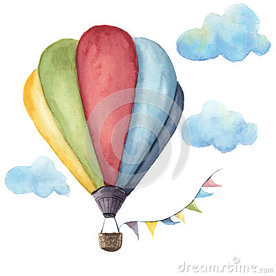 Watercolor hot air balloon set. Hand drawn vintage air balloons with flags garlands, clouds and retro design Stock Photo