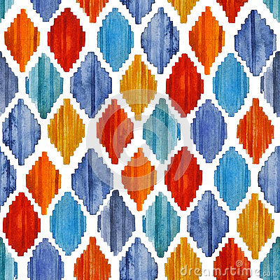 Free Watercolor Ikat Seamless Pattern. Vibrant Ethnic Rhombus . Royalty Free Stock Photography - 79710807