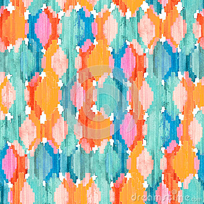 Free Watercolor Ikat Seamless Pattern. Vibrant Ethnic Rhombus . Stock Photos - 79714063
