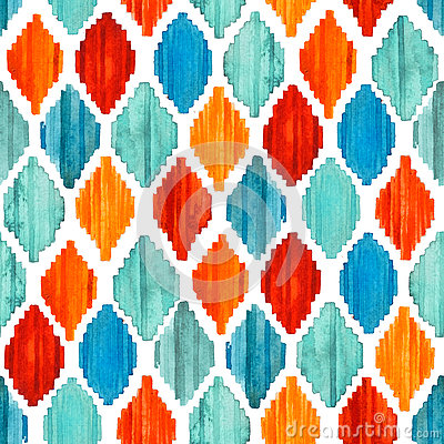 Free Watercolor Ikat Seamless Pattern. Vibrant Ethnic Rhombus . Royalty Free Stock Image - 79714526