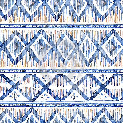 Free Watercolor Ikat Seamless Pattern. Vibrant Ethnic Rhombus  In Watercolour. Stock Image - 79692391
