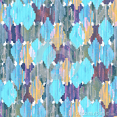 Free Watercolor Ikat Seamless Pattern. Vibrant Ethnic Rhombus Pattern. Royalty Free Stock Images - 79712519