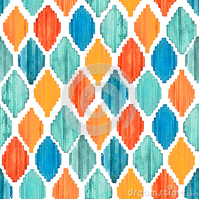Free Watercolor Ikat Seamless Pattern. Vibrant Ethnic Rhombus Pattern. Stock Photo - 79713460