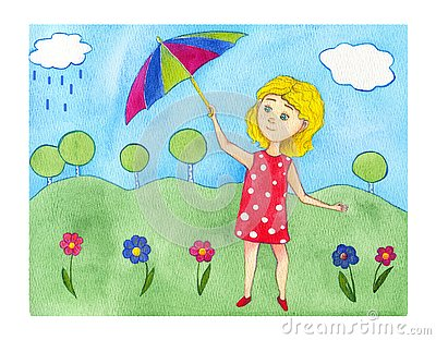 Watercolor illustration blonde girl in red polka dot dress with stripe umbrella on the summer green background. Cartoon Illustration