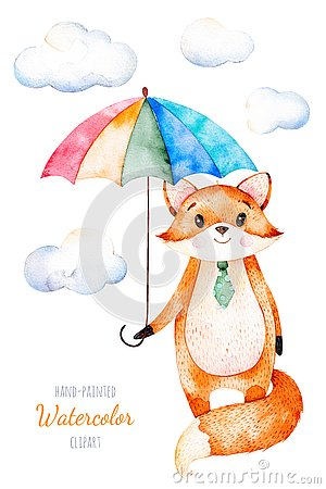 Free Watercolor Illustration.Cute Little Fox With Multicolored Umbrella Royalty Free Stock Image - 94313776