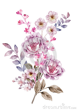 Free Watercolor Illustration Flower In Simple Background Royalty Free Stock Photography - 43419227