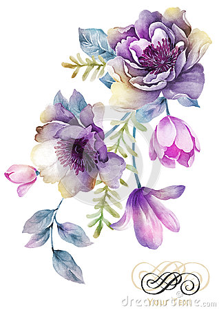 Free Watercolor Illustration Flower In Simple Background Royalty Free Stock Images - 43419289