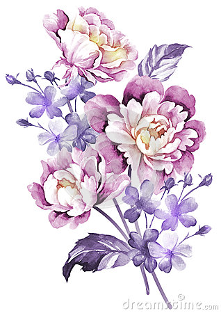 Free Watercolor Illustration Flower In Simple Background Stock Images - 43419314