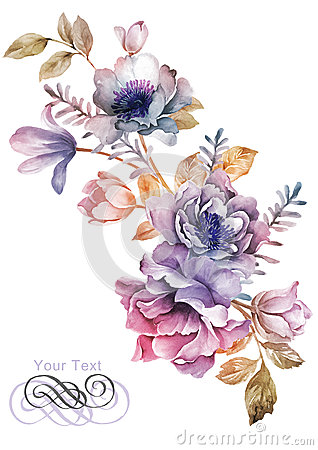 Free Watercolor Illustration Flower In Simple Background Royalty Free Stock Images - 43419319