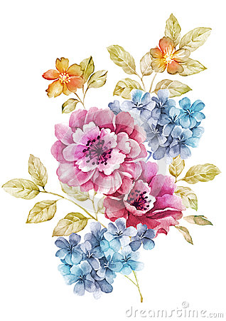 Free Watercolor Illustration Flower In Simple Background Royalty Free Stock Image - 43419326