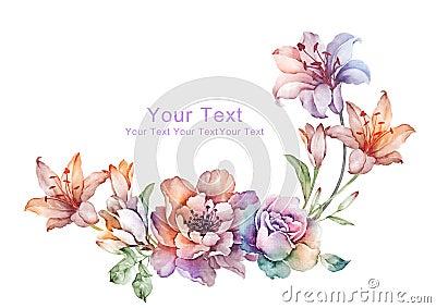Watercolor illustration flower in simple background Cartoon Illustration